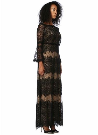 Tadashi Shoji Kayık Yaka Dantel İşlemeli Maksi Elbise Siyah